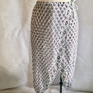 Letarte Boho Lux Handmade Embellished Print Skirt